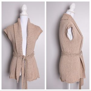 J. Jill Sleeveless Sweater Vest With Belt Tan